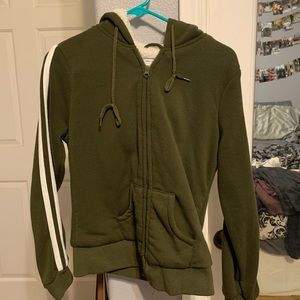 Army green and white zip up with sherpa inside